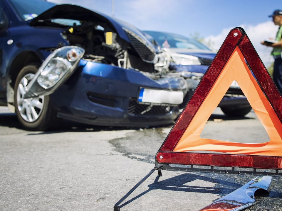 Road accident with smashed cars.